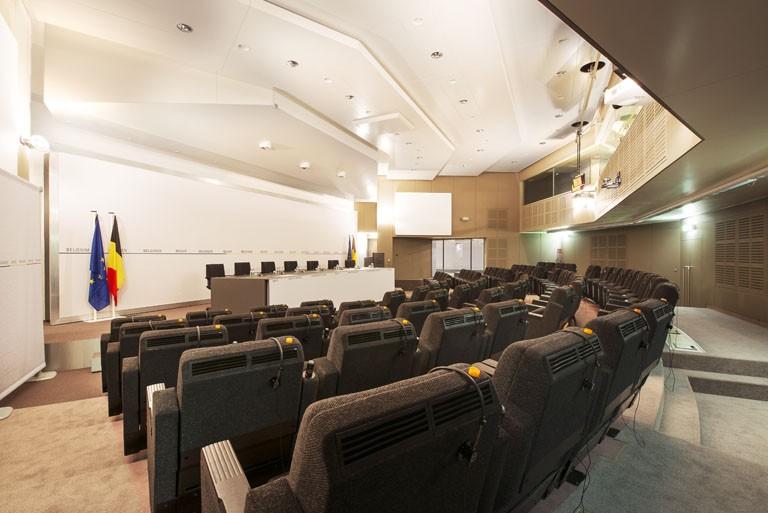 "The press room, nicknamed ""the bunker"""